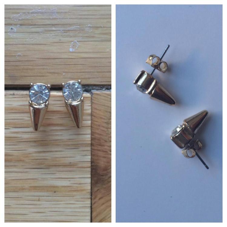 Slate, Crystal Spike Earrings