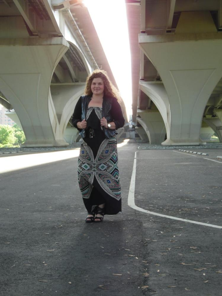 Maxi dress, Target, under $35; Pleather blazer, NY&Co., under $25 on consignment; Shoes, Target, under $35