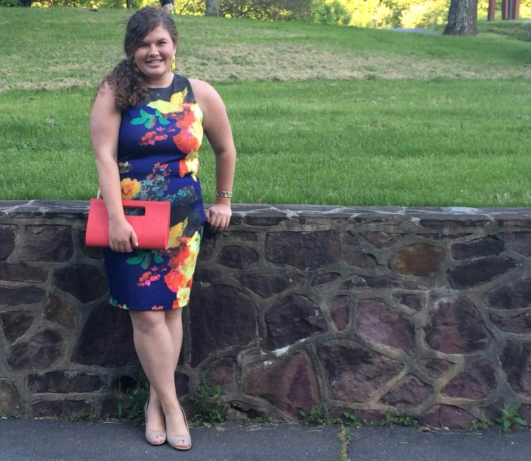 Dress, NY & Co., $70; Clutch, Charming Charlies, $20; Earrings, Charming Charlies, $10; Bracelet, Target, $10; Shoes, Target, under $35