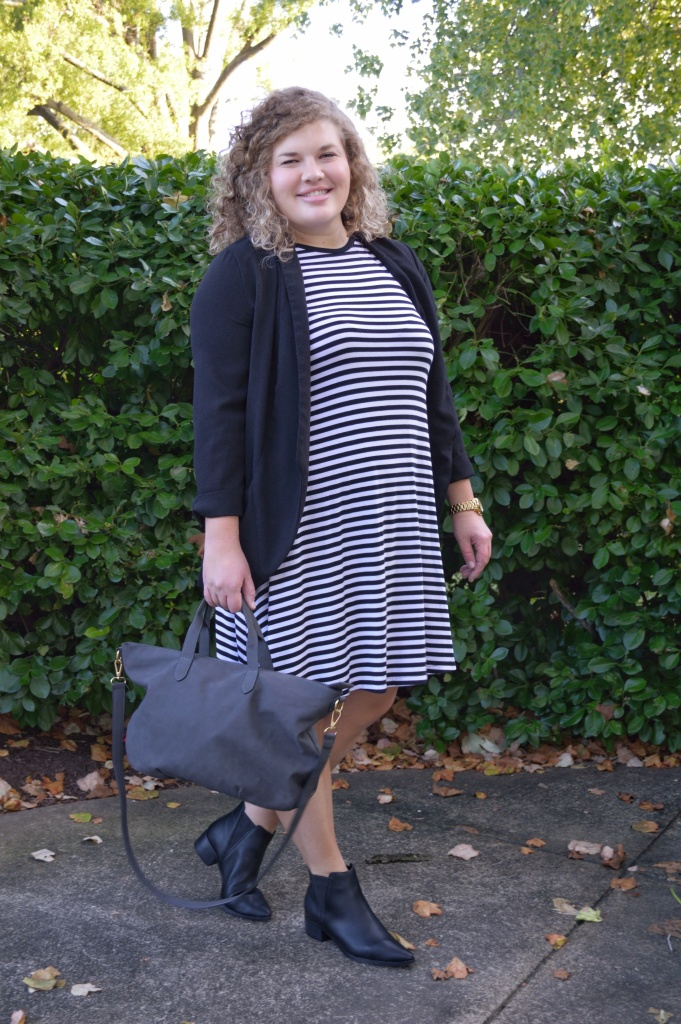 Dress, Old Navy, under $40 | Blazer, Nordstrom Rack, under $50 | Boots, Old Navy, under $40 | Tote, Old Navy, under $40