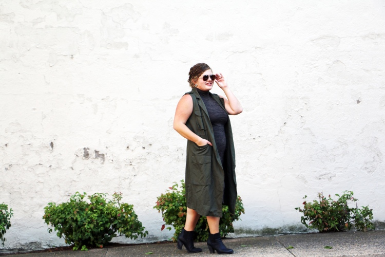 Dress, TJ Maxx, under $30 | Trench Vest, Target, under $50 | Booties, DSW, on sale under $30 | Earrings, House of Harlow, under $30 | Sunglasses, NY & Co., under $30